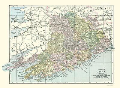 Old Ireland Map - Cork County - Philip 1882 - 23 x 31.43