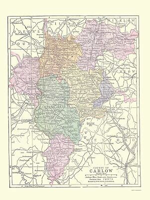 Old Ireland Map - Carlow County - Philip 1882 - 23 x 30.58
