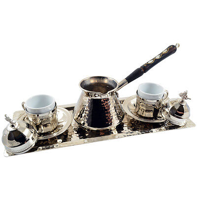 10 Pc Copper Turkish Greek Arabic Coffee Espresso Set with Pot Cups Saucers Tray