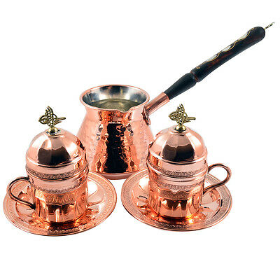 Copper Turkish Greek Arabic Coffee Espresso Set with Pot Cups Saucers