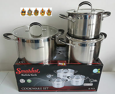Lot De 3 Marmites En Inox Triple Fond Tous Feux Induction Poele Casserole Pierre