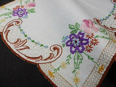 Vintage Linen Cream Traycloth with Hand Embroidered Roses~Anemone~Forgetmeknots