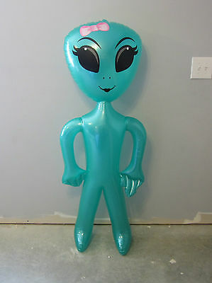 "1 New Inflatable Green Girl Alien 60"" Blow Up Inflate Girly Aliens Halloween"