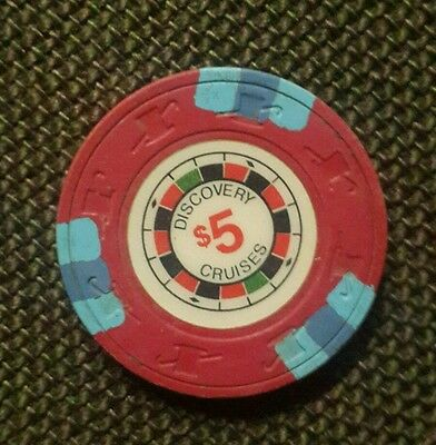 $5 CASINO GAMING CHIP FROM DISCOVERY CRUISE Lines Poker/Obsolete