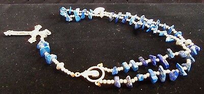 Santo Domingo Made Sterling Silver & Lapis Bead Rosary by Eileen Coriz MR0001
