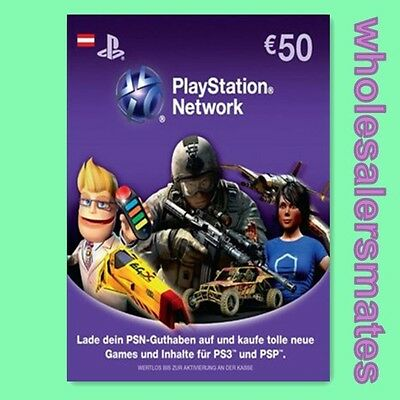 AT €50 Playstation Network Card Key PSN 50 EUR Prepaid Karte PS3 PS4 Österreich