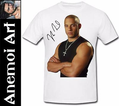T417 Signed Vin Diesel t shirt tee t-shirt autograph signature Fast and Furious