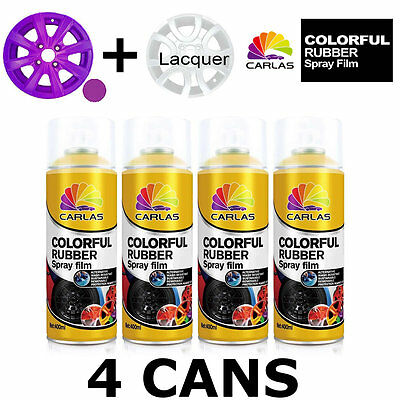 Carlas 3 x VIOLET + 1 x CLEAR LACQUER - Removable Rubber Spray Film For Alloy Wh