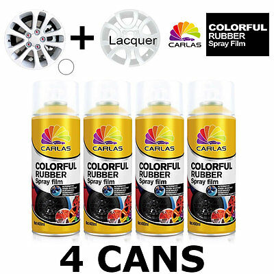 Carlas 3 x WHITE + 1 x CLEAR LACQUER - Removable Rubber Spray Film For Alloy Whe