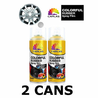 2 x Carlas SILVER Removable Rubber Spray Film for Alloy Wheels 400ml/can