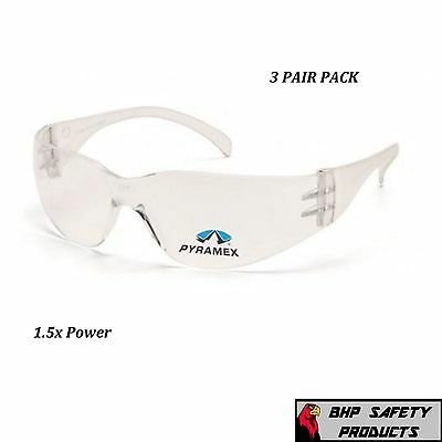 (3 Pair) Pyramex Intruder Reader Safety Glasses Clear Bifocal 1.5 Lens S4110R15