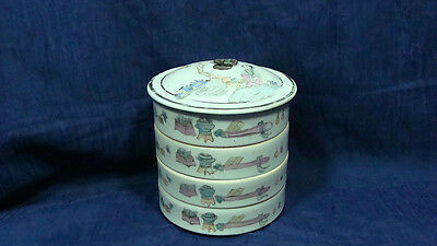 Antique Chinese four stacking covered porcelain boxes Qing marked