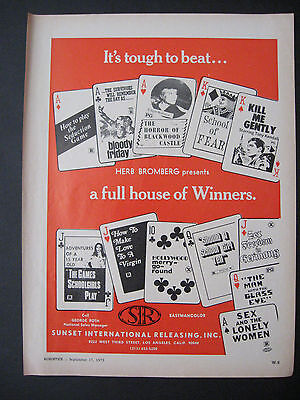 1973 Multi Motion Picture Herb Bromberg Horror & Sex Movie Scarce Trade Print Ad