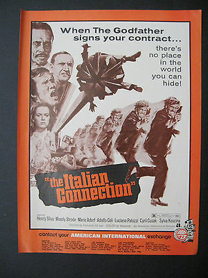 1973 Motion Picture THE ITALIAN CONNECTION Crime Movie Scarce Trade Print Ad