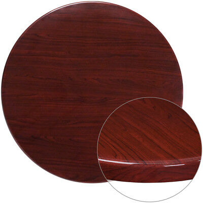 36'' Round Resin Restaurant Table Top in Mahogany Finish - Bar Table Top