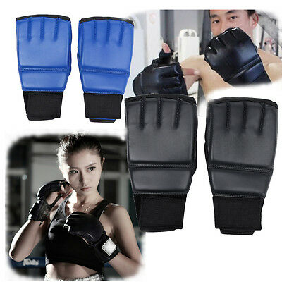 Leather MMA Muay Thai Training Sparring Half Mitts Punching Bag Boxing Gloves