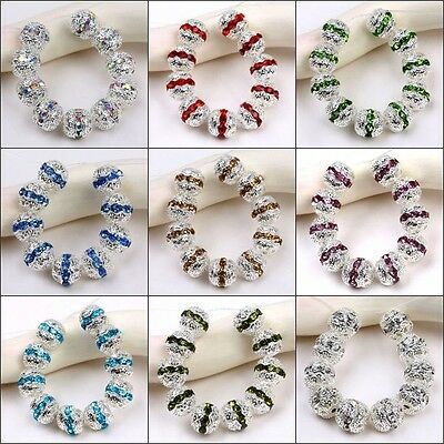 10x Silver Plated Crystal Colorful Rhinestone Ball Spacer Beads Jewelry Findings