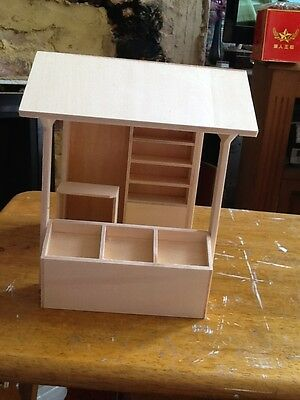 Deluxe Market Stall 1/12th scale Dolls House Miniature Kit self build and finish