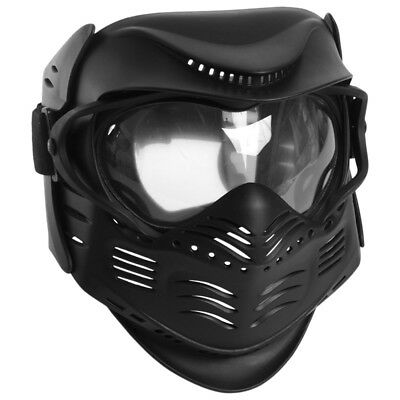 Tactical Combat Protective Face Mask Paintball Airsoft Mil-Sim Clear Lens Black