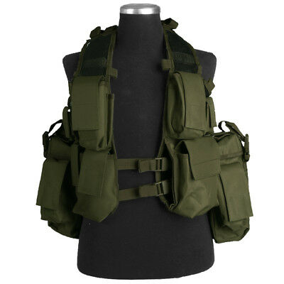 Tactical Assault Combat Cargo Army Military Vest Airsoft Mag Pouches Olive Green