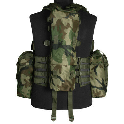 Us Tactical South African Assault Combat Vest Adjustable Airsoft Woodland Camo