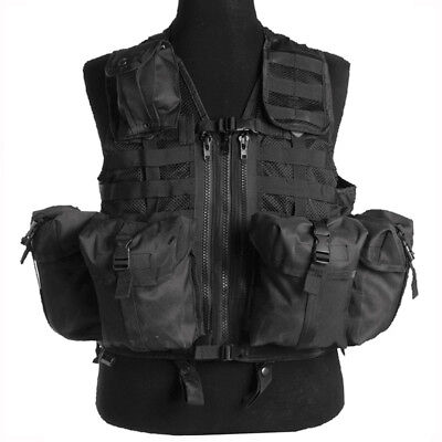 Modular System Military Tactical Vest Airsoft Webbing Paintball Security Black