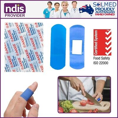 100 X 7.5Cm X 2.5Cm Bandaids Food Safe Blue Detectable Adhesive Strips Sterile