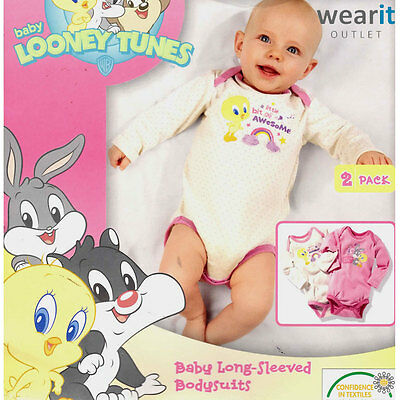 LOONEY TUNES- Baby Girl Long Sleeve Cotton Bodysuits - Pink & White 2 pack - NEW