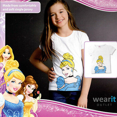 Disney Princess - Printed Short Sleeve Girls T-Shirt - White - NEW