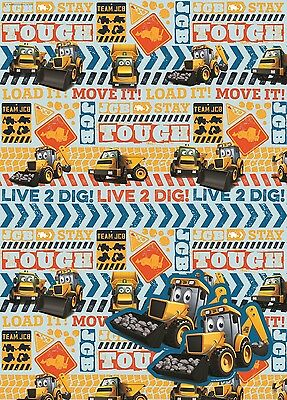 JCB Digger | Joey | Live 2 Dig | 2 Sheets of Giftwrap | Paper | 2 Gift Tags