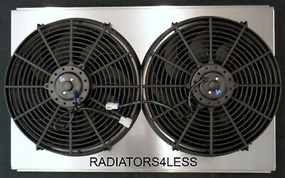 "New All Aluminum Radiator Fan Shroud With 14"" Fans Cadillac Olds 28"" Wide Core"
