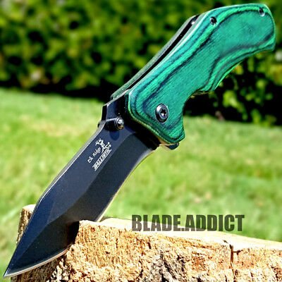 ELK RIDGE GREEN Wood Hunting SPRING ASSISTED OPEN Gentleman Folding POCKET KNIFE