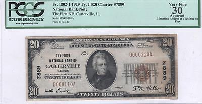 $20 Nat'l Currency, 1929 Ty 1, CH7889, First NB, Carterville, IL, PCGS VF30 App