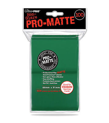 100ct Green Matte Deck Protector Card Sleeves Pokemon MTG Sports + Ultra Pro