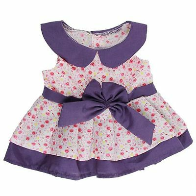 "PURPLE PINK DAISY DRESS CLOTHES FOR 16""/40cm TEDDY BEARS & BUILD YOUR OWN BEARS"