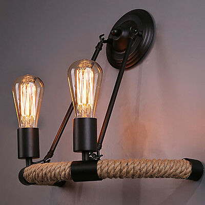 Retro Hemp Rope Vintage Industrial Wall Lamp Light Rustic 2 heads  Sconce Light
