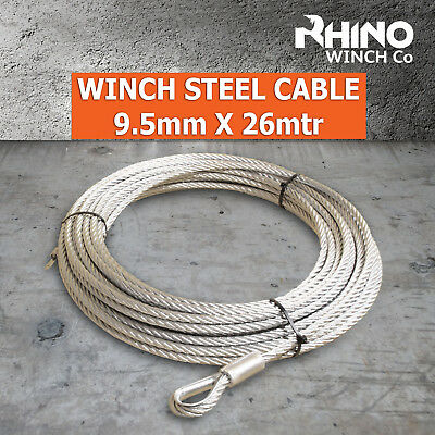 Winch Steel Cable - 9.5mm x 26mtr/85ft - Heavy Duty Rhino Rope - Galvanised line