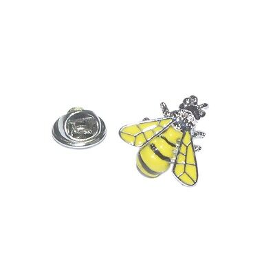 Yellow & Silver Busy Bee Lapel Pin Badge Wasp Honey Honeycomb Present New