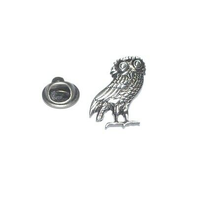 Silver Wise Greek Owl Of Athena Lapel Pin Badge Greece Owls Barn White New