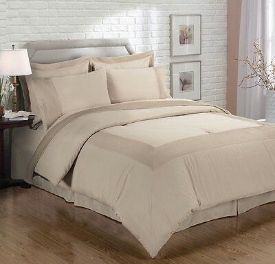 Chezmoi Collection 8 Piece Mocha Pleated Bed-in-a-Bag Comforter Sheet Set, Queen