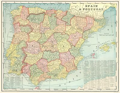 Old Iberian Peninsula Map - Spain and Portugal - Cram 1898 - 23 x 29.61