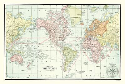 Old World Map - Cram 1898 - 23 x 33.94