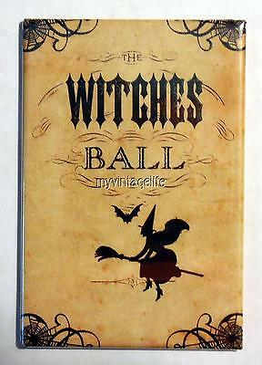 "Vintage Halloween Scary WITCHES BALL 2"" x 3"" Fridge MAGNET"