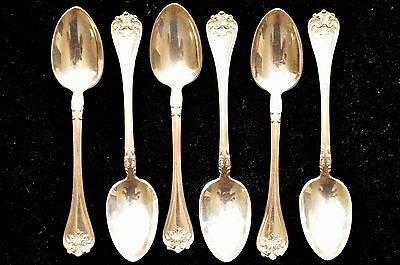 Antique Towle Floral Sterling Silver Teaspoons Complete set of  6