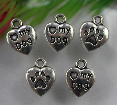 "wholesale 30/100/300pcs Retro Style ""Like my dog"" heart alloy Charms Pendants"