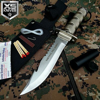 "10.5"" BONE EDGE Tactical Hunting COMBAT Survival Knife Bowie w/ Sheath"