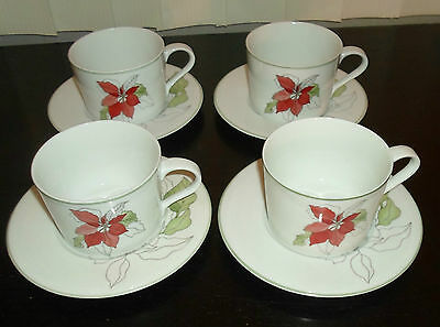 (4) Block Spal POINSETTIA  Flat Coffee Cups & Saucers Mary Lou Goertzen Portugal