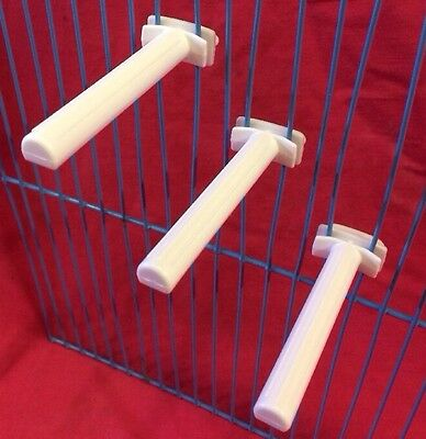 Plastic Perch White 3 X 6.5cm Twist On Budgies Canaries Finches Cockatiels SMALL