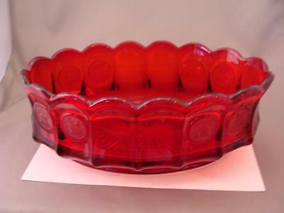 Vintage FOSTORIA Red Coin Glass BOWL Scalloped Oval Serving Dish