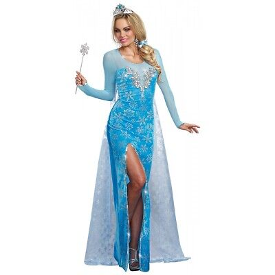 Elsa Costume Adult Fairy Tale Princess Halloween Fancy Dress
